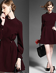 Vestidos ( Tejido )- Casual Redondo Manga Larga para Mujer