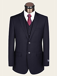 Men's Single Breasted Two-buttons Bridegroom Groomsmen Formal 2 Pieces Dark Blue Wool Suits Multi Version Optional