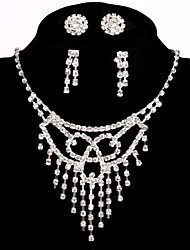 2 Pairs of Rhinestone Earrings with Bridal Events Party Jewelry Sets Lady Crystal Necklace Ring Bracelet Earrings Gifts