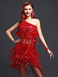 Latin Dance Outfits Women's Performance Sequined Tassel(s) 2 Pieces Blue / Fuchsia / Red