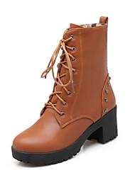 Women's Boots Fall / Winter Comfort / Round Toe Wedding / Outdoor / Dress Chunky Heel Rivet / Split Joint