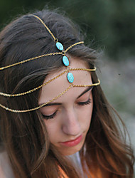 Women Simple Turquoise Retro Multilayer Tassel Chain Headband Hair Accessories