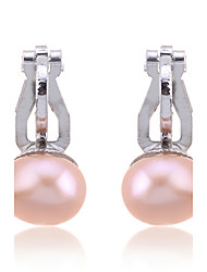 Clip Earrings Pearl Silver Plated Fashion White Black Champagne Jewelry Party Daily Casual 2pcs