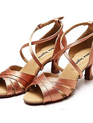 Non Customizable Women's Dance Shoes Satin / Leather Satin / Leather Latin Heels Flared HeelPractice / Beginner / Professional /