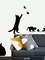 Wall Stickers Wall Decals, Black Lovely Cats Playing PVC Wall Stickers
