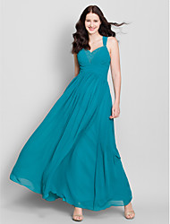 Lanting Ankle-length Chiffon Bridesmaid Dress - Dark Green A-line Straps