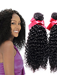 EVET Human Hair Extensions Kinky Curly Peruvian Virgin Curly Hair 3pcs Weave Bundles With Natural Black Fast Shipping