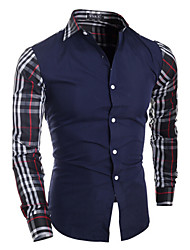 Men's Plaids Casual Shirt,Cotton Blend Long Sleeve Black / Blue