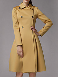 Women's Solid Blue / Gold Trench Coat , Casual Long Sleeve Polyester