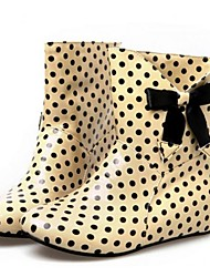 Women's Spring Fall Winter Rain Boots Patent Leather Casual Flat Heel Bowknot Polka Dot Black Green Almond