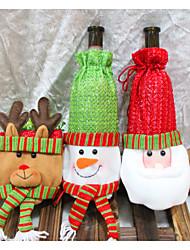 3 conjunto de bolsas de botellas de vino decoración de navidad ropa de santa botella