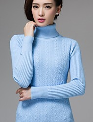 Women's Korean Solid Color Twisted Knitted Sweater with Good Elasticity, High Collar Long Sleeve Pullover Knitwear