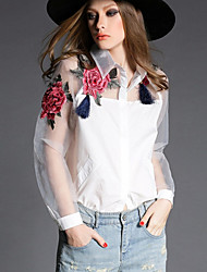 Women's Casual/Daily Simple Spring Shirt,Floral Shirt Collar Long Sleeve White / Black Polyester Sheer