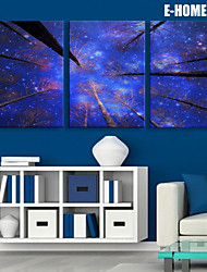E-HOME® Stretched LED Canvas Print Art Towering Trees LED Flashing Optical Fiber Print Set of 3
