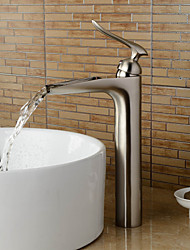 Contemporary Brass Nickel Brushed Bathroom Sink Faucet