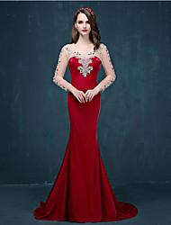 Formal Evening Dress - Burgundy Trumpet/Mermaid Scoop Sweep/Brush Train Tulle