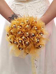"""Fleurs de mariage Rond Roses Bouquets Mariage / Le Party / soirée Satin élastique / Organza / Perle 7.87""""(Env.20cm)"""