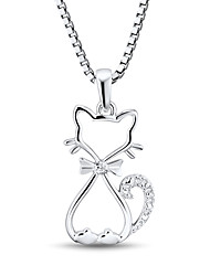 Women's Fashion Sterling Silver set with Zircon Kitty Pendant with Silver Box Chain