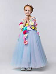 A-Line Ankle Length Flower Girl Dress - Polyester Tulle 3/4 Length Sleeves V-neck with Flower