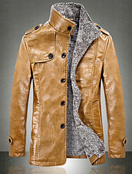 JISNEY Men's Long Sleeve Jacket , PU Casual / Work / Formal / Sport / Plus Sizes Pure Men with velvet warm winter jacket