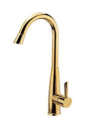 Luxury Contemporary Golden Solid Brass Kitchen Sink Faucet Tap Mixer
