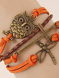 Women's European Style Fashion Retro Owl Cross Dragonfly Charm Bracelet