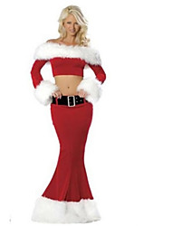 Cosplay Costumes / Party Costume Santa Suits Festival/Holiday Halloween Costumes Red Solid Top / SkirtHalloween / Christmas / Carnival /