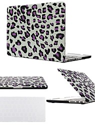 "2 in 1 Black/Purple Leopard Hard Plastic Cover Case for MacBook Pro 13"" /15 "" with Transparent Keyboard Cover"