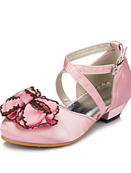 Girl's Flats Spring / Summer / Fall / Winter Round Toe Silk Outdoor / Casual Satin Flower / Stitching Lace / Flower Pink