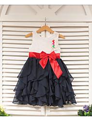 Vestido Chica deUn Color-Poliéster-Verano-Blanco