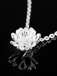 Sweet Lotus Sterling Silver Collarbone Pendant Necklace