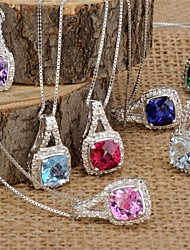 Women's Classic Sterling Silver set with Diamonds and Color Stone Pendant with Silver Box Chain