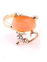Opal Cat Adjustable Rhinestone Alloy Fashion Rings