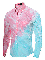 Men's Long Sleeve Shirt , Cotton / Polyester Casual / Work / Sport Plaids & Checks 3D Tie-dye