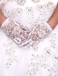 Delicate Lace Wrist Length Fingertips Flower Girl's Gloves Kids Children's Glove With DIY Pearls and Rhinestones