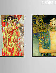 E-HOME® Stretched Canvas Art Sexy Abstract Woman Decoration Painting  Set of 2