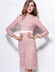 Knee-length Lace / Satin Bridesmaid Dress - Pearl Pink Sheath/Column Jewel