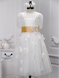 A-line Tea-length Flower Girl Dress - Tulle Short Sleeve