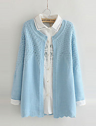 Women's Solid Blue Cardigan , Casual Long Sleeve