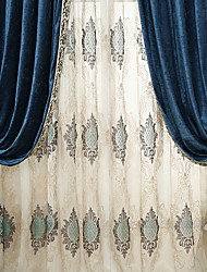 (Two Panels)Classic Embroider Sheer Curtain Curtain Drape