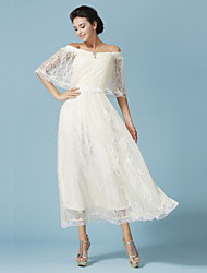 Ankle-length Lace Bridesmaid Dress - Ivory Ball Gown Bateau