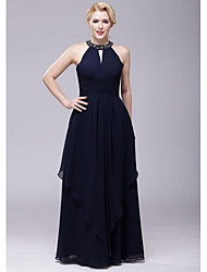 Floor-length Chiffon Bridesmaid Dress - Dark Navy A-line Halter