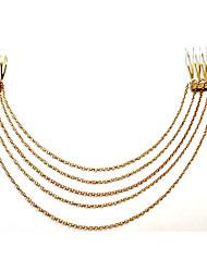Women Fashion Smooth Long Tassel Punk Metal Chain Comb Hair Accessories Alloy Hair Clip