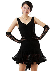Latin Dance Outfits Women's Performance Silk Ruffles 3 Pieces Black / White