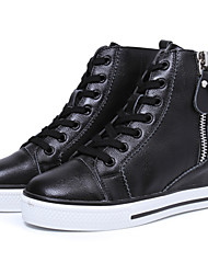 Genuine leather Fashion Wedges Sneakers Leather buckle Side zipper open Size 35~39 Height Increasing 6cm Women's Shoes