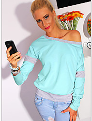 Xin Ya Li     Women's Solid Color Pink T-Shirts , Sexy / Casual Off-the-shoulder Long Sleeve