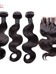 brésiliens vierges vague de corps de cheveux de smilco avec fermeture 3 faisceaux avec 4 * 4 fermeture à lacets troisième partie