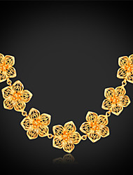 Vogue New Bohemian Necklace for Women Flower Fashion Jewelry 18K Gold Platinum Plated Blossom High Quality