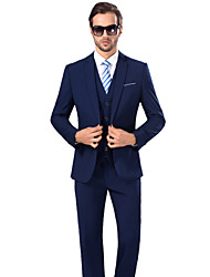 Suits Standard Fit Notch Viscose/Serge Solid 3 Pieces Royal Blue