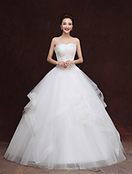 Princess Wedding Dress Floor-length Strapless Tulle with